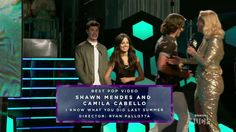Shawn and Camila receiving their award for Best Pop Video - IKWYDLS at the 2016 iHeart Radio MMVA's Shawns face