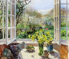 A view from a window in  springtime.  Stephen J. Darbishire. Sunshine and Daffodils