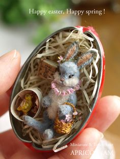 Cute bunny and chick in a vintage easter tin ornament box by Apricot Jam
