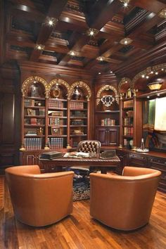 Traditional Home Office Design With Wooden Coffered Ceiling