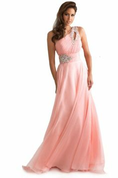 Dlass New Products One Shoulder Chiffon Prom Dresses Wedding Party Gown Pink (US2, Pink) Dlass,http://www.amazon.com/dp/B00G1ZZDM8/ref=cm_sw_r_pi_dp_4vZWsb0X24TBQ6CV