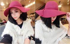 Burgundy Wide Brim Felt Wool Ladies Fashion Trendy Hat