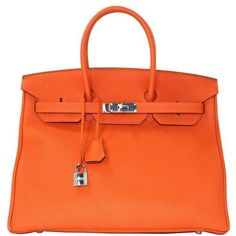 Preowned Hermes Orange Birkin Bag- 35 Cm Togo Leather Phw ($15,999) ❤ liked on Polyvore featuring bags, handbags, orange, orange handbags, hermes purse, pre owned handbags, hermes handbags and real leather handbags