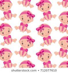 cute girl baby shower sitting seamless pattern design