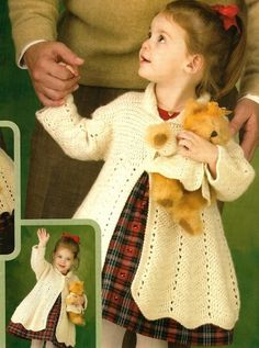 X042 Crochet PATTERN ONLY Nostalgic Victorian Coats Girl and Teddy Pattern 4.95