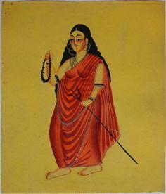 Kalighat collection: Bhairavi. Watercolour on paper. Circa 3rd quarter 19th century. 25.5 x 21.6cm