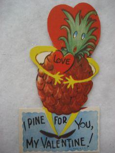 Vintage Valentine Card Anthropomorphic Pineapple I Pine for You My Valentine New | eBay