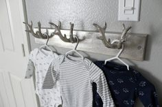 Modern Navy and Grey Rustic Nursery - Project Nursery Antler Wall Hook – love this look in a rustic nursery! Great for little boy decor in the nursery. Baby Boys, Baby Boy Rooms, Baby Boy Nurseries, Rustic Baby Nurseries, Modern Nurseries, Nursery Themes, Nursery Room, Girl Nursery, Nursery Ideas