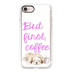 But first- coffee-  sleepy havanese puppy watercolor pet portrait with... (165 RON) ❤ liked on Polyvore featuring accessories, tech accessories, iphone case, slim iphone case, iphone cover case, iphone cases and apple iphone cases