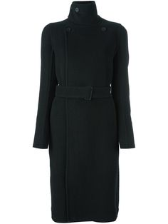 d536742932c1 Black cashmere and cotton funnel neck coat from Rick Owens featuring a  double breasted front fastening, a belted waist, long sleeves and button  cuffs.