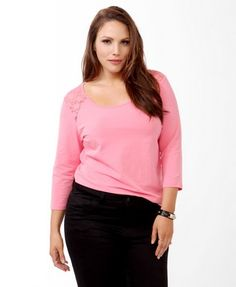 Forever 21 Lace Yoke Top with front lace inserts and back straight yoke lace inserts. Attractive 3/4 sleeve length.