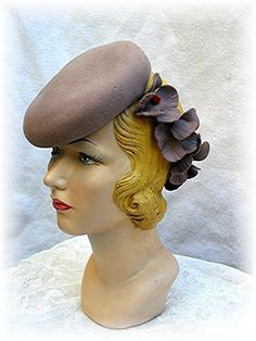 1940's Tilt Hat 40's Taupe 1940s 40s w Daisy Band Red Centers Vintage Hat.