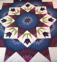 Almost Amish King Broken Star Quilt in Red & Blue