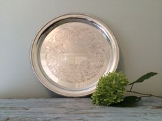 """Vintage Silver Plate 12"""" Round Tray with Ornate Engraved Detail by CottageBlu on Etsy"""