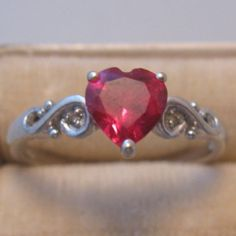 10K Gold Ruby Heart Ring by VintageJewelsAndMore on Etsy, $75.00