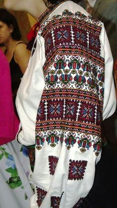 One of my favourite FB groups is Схеми для вишиванок безкоштовно. It's a Ukrainian group that posts free patterns. Here's a beauty they had the other day. Polish Embroidery, Embroidery On Clothes, Folk Embroidery, Modern Embroidery, Cross Stitch Embroidery, Embroidery Patterns, Folk Fashion, Ethnic Fashion, Making Shirts