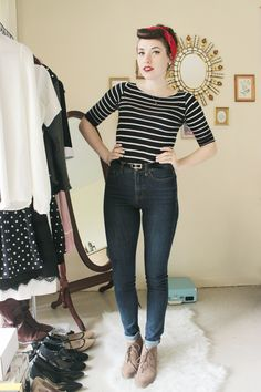 <3 this look from the ModCloth Style Gallery! Tucked in shirt, nautical stripes, red hair bandana