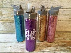 Too Cute. Glitter Water Bottles