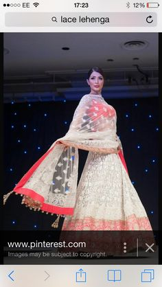 Red and white Lucknow Lehenga