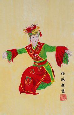 Tari Cokek in Chinese Painting Chinese Painting, Chinese Art, Painting Art, Note, Band, Fictional Characters, Sash, Ribbon, Bands