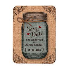 Rustic Country Burlap Jar Vintage Save the Date Magnet