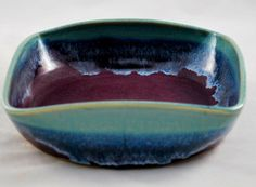 Square Ceramic Bowl Wheel Thrown and Altered by dkpottery on Etsy