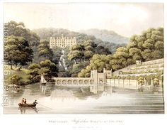 Beaudesert, Staffordshire, from Fragments on the Theory and Practice of Landscape Gardening, pub. 1816. Humphry Repton