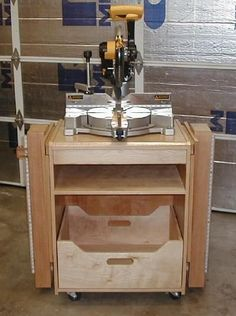 Miter Saw Station, front view with wings folded for storage.