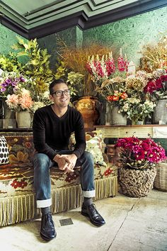 After seventeen years in fashion from John Galliano at Dior and Stefano Pilati at Yves Saint Laurent, Rambert Rigaud became master florist. Here he is in his shop in Saint-Germain-des-Prés