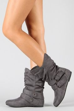 Buckle slouchy flat boots. $26.50