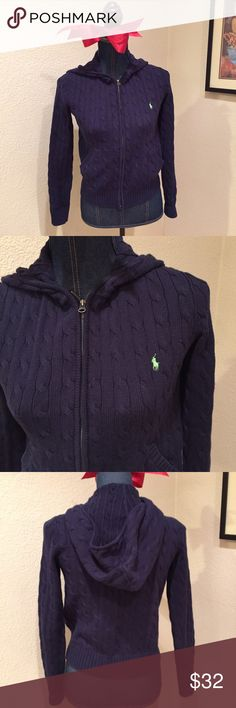 Polo cable knit hoody sweater Polo cable knit hoody sweater navy with green polo 100% cotton Polo by Ralph Lauren Sweaters