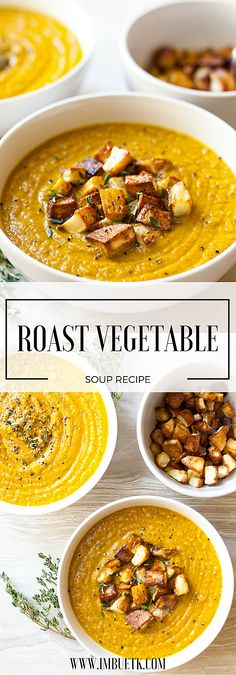 Anti-inflammatory Turmeric infused. This Rustic, homely, nourishing & Delicious roast vegetable soup recipe is the tatse of English country chic.