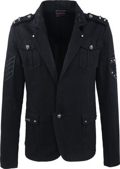This men's jacket from the gothic clothing brand Queen of Darkness has an alluring military style, with studs detail and epaulettes.