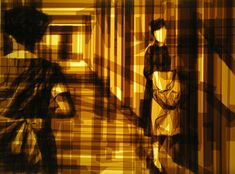 Brown Packing Tape  This is the artwork of Mark Khaisman a ukrainian artist based in philadelphia who creates artwork from brown packing tape. 'I work on the light easel, applying translucent brown packing tape on clear Plexiglas panels, the layers built up to create degrees of opacity.'