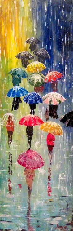 "Original Painting Umbrellas - 32 x 12""- Acrylic Rain Impasto Painting - Blue…"