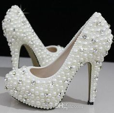 Buy Fashion Luxurious Pearls Crystals Wedding Shoes Custom Made Size 11 cm High Heel Bridal Shoes Party Prom Women Shoes Online with the Low Price: $38.54 | DHgate.com
