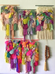 This colorful tapestry was delicately hand woven with a bunch of wool, high quality vintage silk threads, viscose fringe tassels Weaving Textiles, Weaving Art, Tapestry Weaving, Loom Weaving, Hand Weaving, Colorful Tapestry, Weaving Wall Hanging, Wall Hangings, Passementerie