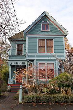 Farmhouse Exterior Colors Victorian Ideas For 2019 Victorian Cottage, Victorian Homes, Folk Victorian, Victorian Farmhouse, Cute House, House Painting, My Dream Home, Exterior Design, Exterior Colors