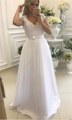 Lastest Design White V Neck Tulle Prom Gown 21f50f0e1a63