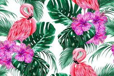 Pink flamingos, exotic birds, tropical flowers, palm leaves, jungle leaf, hibiscus beautiful seamless vector floral summer pattern background by Tropicana on @creativemarket