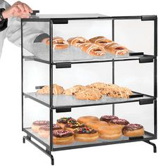 Shop Cal-Mil Three Tier Black Pastry Display Case - 16 inch x 23 inch x 20 inch. Unbeatable prices and exceptional customer service from WebstaurantStore. Bakery Display Case, Cafe Display, Pastry Display, Catering Display, Display Cases, Bakery Shop Design, Coffee Shop Design, Bakery Kitchen, Bakery Cafe