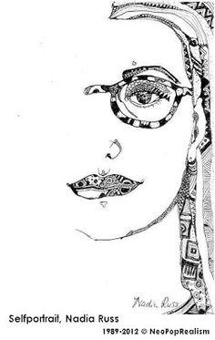 Self portrait Nadia Russ, NeoPopRealism Ink Pen