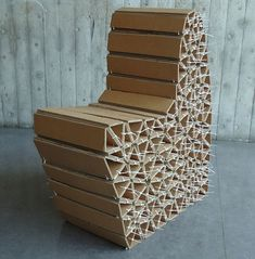 Caterpillar Chair reused cardboard modular chair by Wiktoria Szawiel Not sure if I like the design, but I love the way it's constructed.