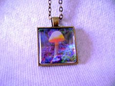 Mushroom Necklace Psychedelic Pendant by CrystalynsDreamery, $19.00