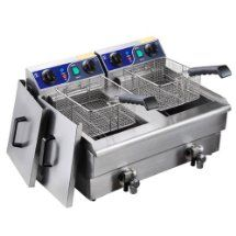 Heavy Duty 20L Dual Tank Stainless Steel Electric Deep Fryer w/ Drain Timer Baskets for French Fry Chicken Wing Drumstick Commercial Kitchen Restaurant Catering