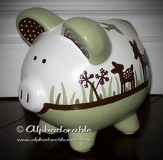 """Custom, hand painted ceramic personalized piggy bank Kidsline Willow design small 5"""" on Etsy, $38.00"""