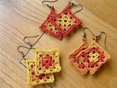 "Here's the matching ""Mini Granny Square Earrings""!"