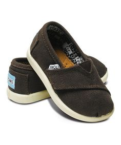 I want these for Ben sooo bad!! Take a look at this Chocolate Canvas Classics - Tiny by TOMS on #zulily today!