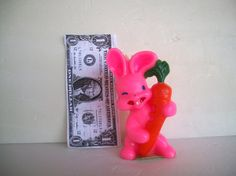 Vintage Bunny Candle By Gurley Novelty Co. Easter Pink Rabbit With Orange Carrot 1960s Measures 4.5  X  2 And 1/4 Inches