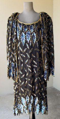 Black Sil k Dress & Jacket w/ Multi-Color Sequins/Gold Beads Size 2X